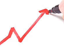 positive line graph drawn in red marker